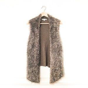 CAbi Open Drape Alpaca Mohair Blend Fur Vest - M